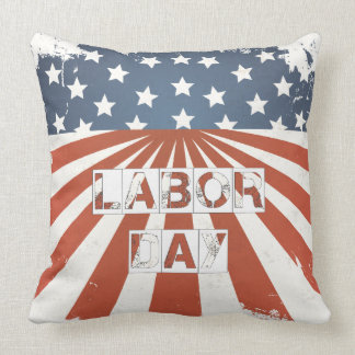 Labor Day American Flag Throw Pillow