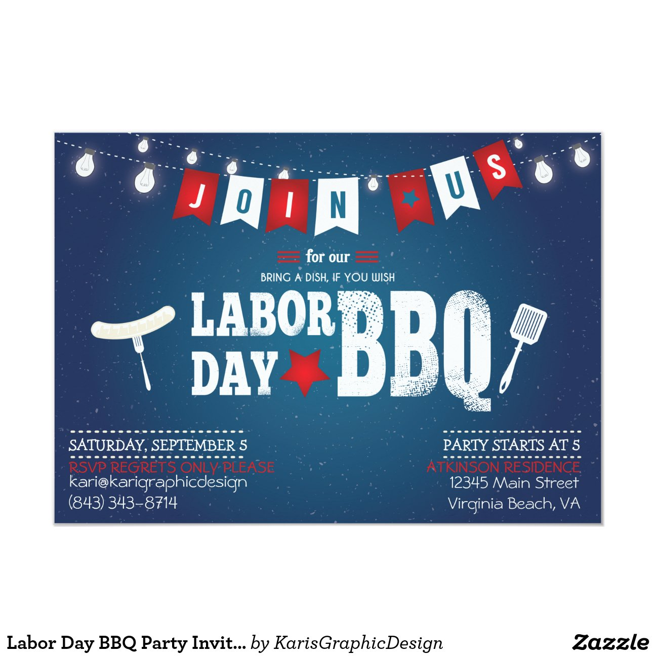 Labor Day BBQ Party Invitation  Labor Day Bbq Party