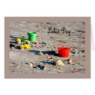 Labor Day Card Beach with Colorful Pails