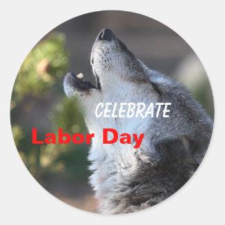 Labor Day, Celebrate, Wolf Howling, Sticker