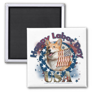 Labor Day - Flag Waving - Corgi - Owen Magnet