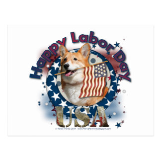 Labor Day - Flag Waving - Corgi - Owen Postcard