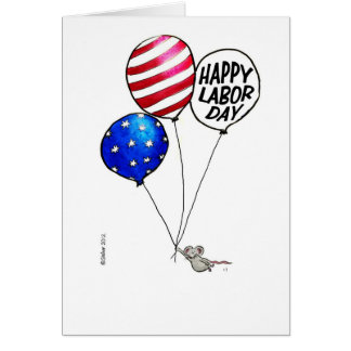 Labor Day - Flying mouse with balloons. Greeting Card