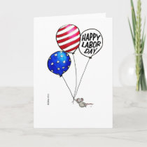 Labor Day - Flying mouse with balloons. Card