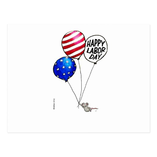 Labor Day - Flying mouse with balloons. Postcard