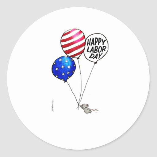 Labor Day - Flying mouse with balloons. Round Sticker