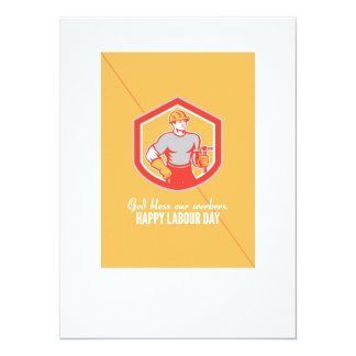Labor Day Greeting Card Builder Carpenter Hammer S