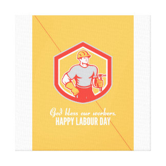 Labor Day Greeting Card Builder Carpenter Hammer S Canvas Print