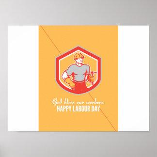 Labor Day Greeting Card Builder Carpenter Hammer S Poster