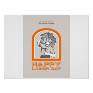 Labor Day Greeting Card Builder Construction  Hamm Poster