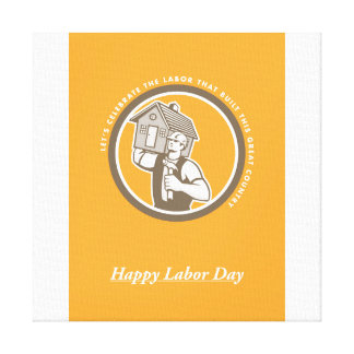 Labor Day Greeting Card Builder Hammer House Circl Canvas Print