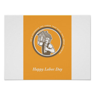 Labor Day Greeting Card Builder Hammer House Circl Poster