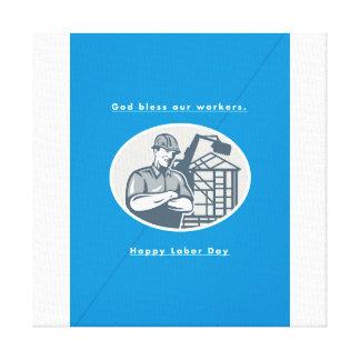Labor Day Greeting Card Builder Houseframe Crane Canvas Print