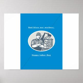 Labor Day Greeting Card Builder Houseframe Crane Poster