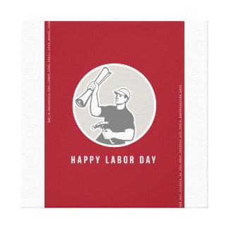 Labor Day Greeting Card Builder Plan Hammer Circle Canvas Print