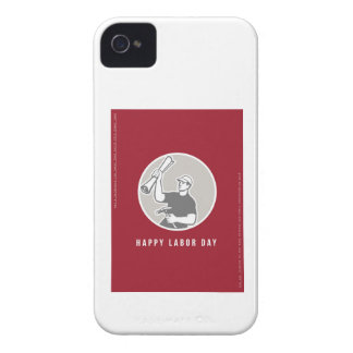 Labor Day Greeting Card Builder Plan Hammer Circle Case-Mate iPhone 4 Cases