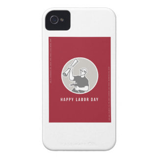 Labor Day Greeting Card Builder Plan Hammer Circle iPhone 4 Case-Mate Cases