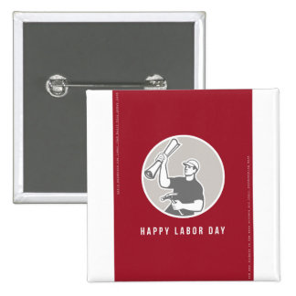 Labor Day Greeting Card Builder Plan Hammer Circle Pinback Button