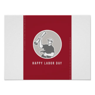 Labor Day Greeting Card Builder Plan Hammer Circle Poster