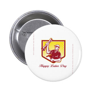 Labor Day Greeting Card Builder Plan Hammer Pinback Button