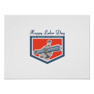 Labor Day Greeting Card Construction Worker I-Beam Poster