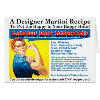Labor Day Martini Cocktail Recipe Card