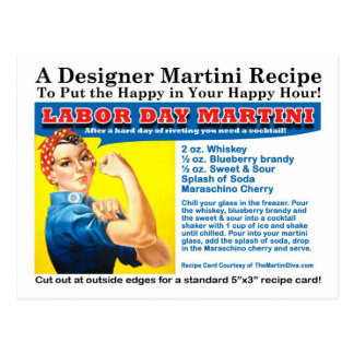 Labor Day Martini Cocktail Recipe Postcard