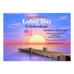 Labor Day Party US Flag on Dock Custom Invitations