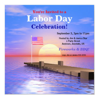 Labor Day Party US Flag on Dock 5.25x5.25 Square Paper Invitation Card