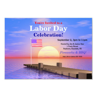 Labor Day Party US Flag on Dock 3.5x5 Paper Invitation Card
