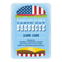 Labor Day Patriotic Burger Barbecue Invitation
