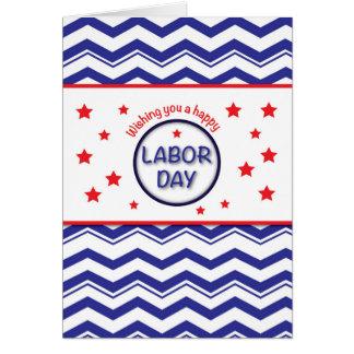 Labor Day, Patriotic Chevron Stripes, Stars RW&B Card
