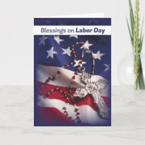 Labor Day Patriotic Cross on Flag, Religious Card
