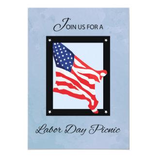 Labor Day Picnic Invitation, Flag, Blue Skies Card