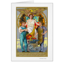 Labor Day Souvenir Laborers with Lady Justice Card