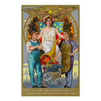 Labor Day Souvenir Laborers with Lady Justice Poster