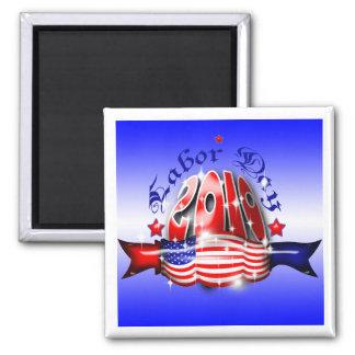Labor Day Square Fridge  Magnet