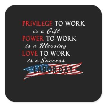 Professional Business Labor Day Square Sticker
