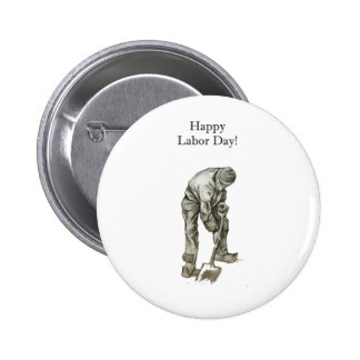 Labor Day Van Gogh Working Man Drawing Button