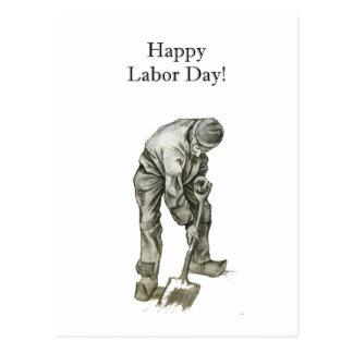 Labor Day Van Gogh Working Man Drawing Postcard