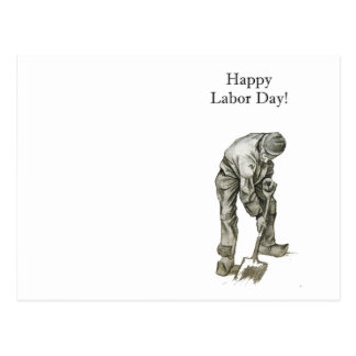Labor Day Van Gogh Working Man Drawing Postcard