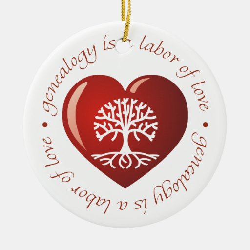 Labor of Love Heart Double-Sided Ceramic Round Christmas Ornament