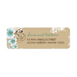 laboratorio de encargo azul del boda del hibisco t etiqueta de remite