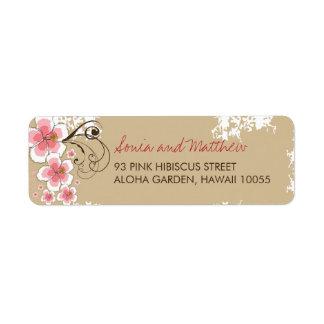 laboratorio de encargo del boda del rosa tropical etiquetas de remite
