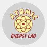 Laboratorio de la energía atómica pegatina redonda
