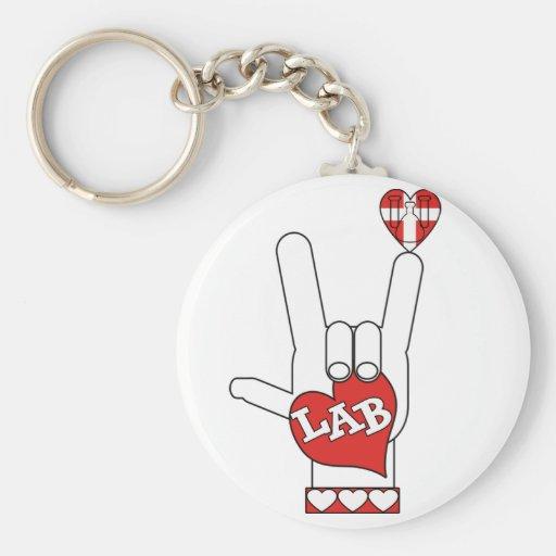 LABORATORIO de la muestra del ASL te amo (LABORATO Llavero Redondo Tipo Pin