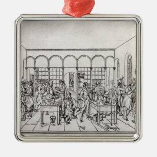 Laboratorio de química de barón Justus von Liebig Adorno Navideño Cuadrado De Metal