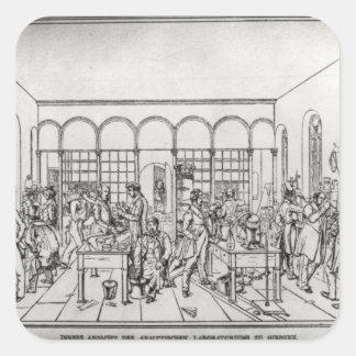 Laboratorio de química de barón Justus von Liebig Colcomanias Cuadradas Personalizadas