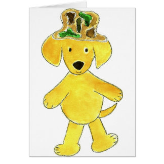 Laboratorio del amarillo del gorra de Camo Tarjeta De Felicitación