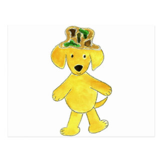 Laboratorio del amarillo del gorra de Camo Postales